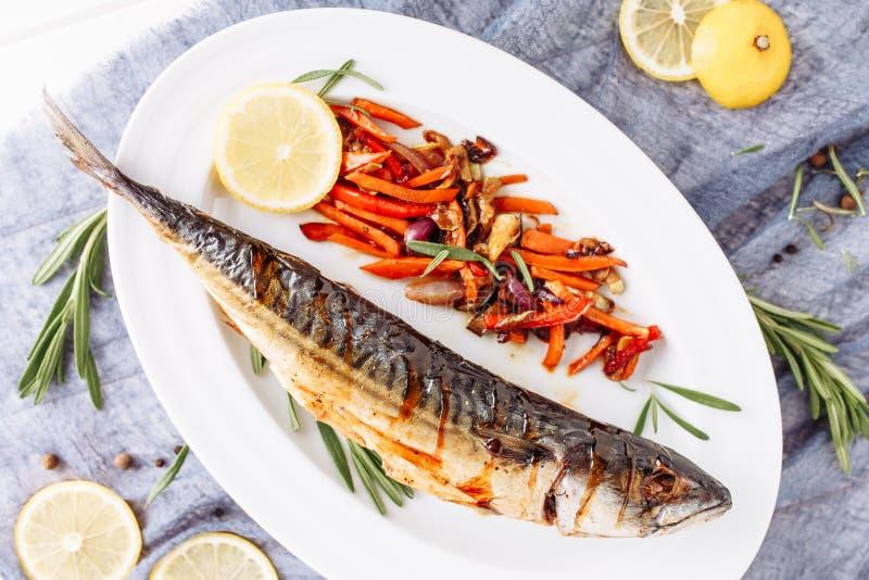 Grill Fried Mackerel Scomber Fish Top Flat Lay royalty free stock photos
