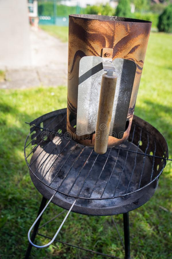 Grill garden party with ausages and meat. Grill garden party with sausages and meat in czech republic royalty free stock photos