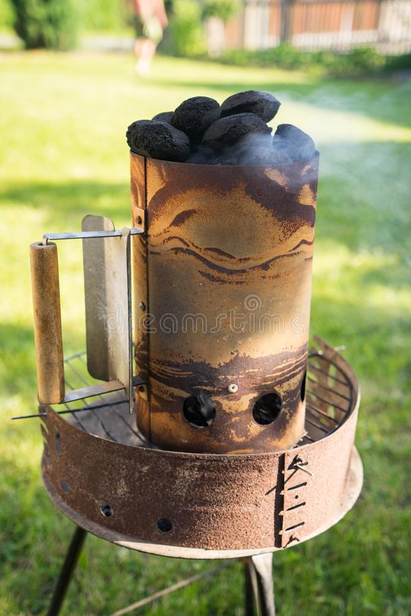 Grill garden party with ausages and meat. Grill garden party with sausages and meat in czech republic stock images