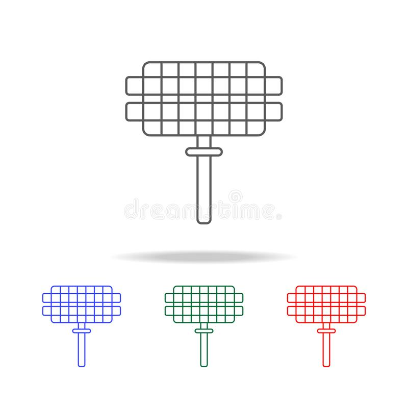 Grill-Gitterikone Elemente in den multi farbigen Ikonen für bewegliche Konzept und Netz apps Ikonen für Websitedesign und Entwick stock abbildung