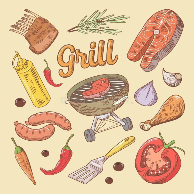 Grill-Grill-Gekritzel mit Steak und Wurst Hand gezeichnete Abbildung vektor abbildung