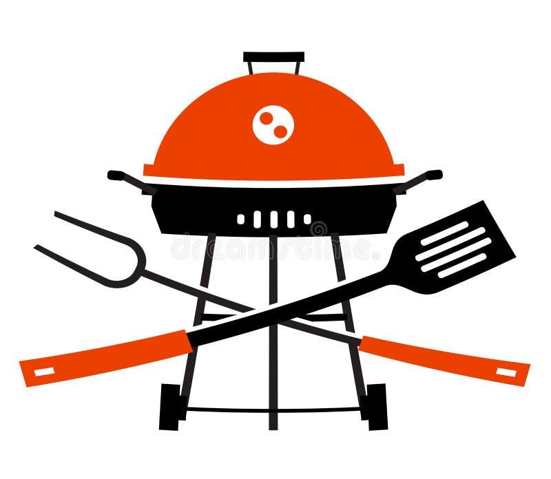 Grill, grill, grill, pinkin naczynia dla royalty ilustracja