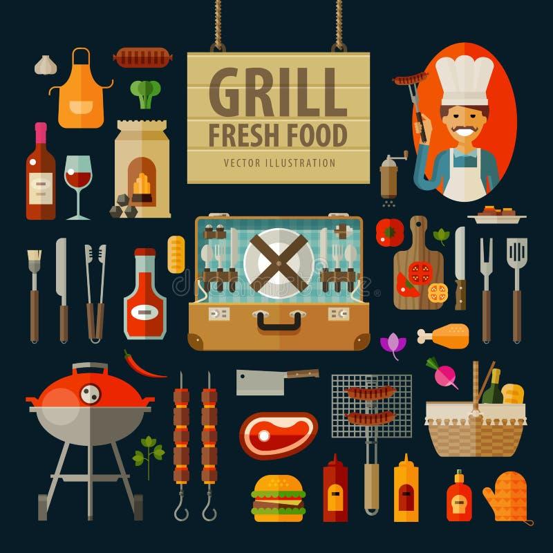 Grill, grill ikony ustawiać wektor mieszkanie royalty ilustracja