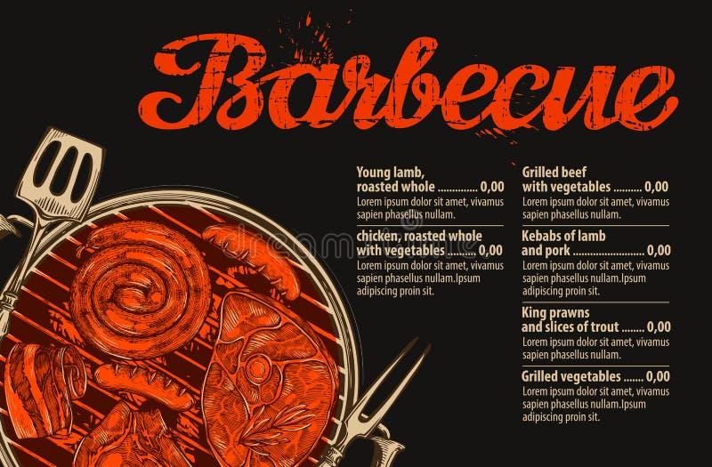 Grill, grill Wektorowy szablon menu projekt dla restauraci, kawiarnia Ręka rysujący nakreślenia jedzenie, mięso royalty ilustracja