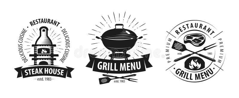 Grill, grilla logo lub etykietka, BBQ, kebabu emblemat również zwrócić corel ilustracji wektora ilustracja wektor