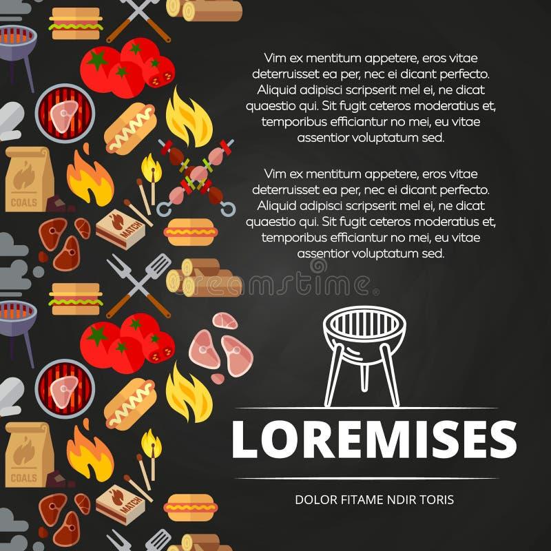 Grill, hamburgery i wyposażenia chalkboard plakatowy projekt, ilustracji