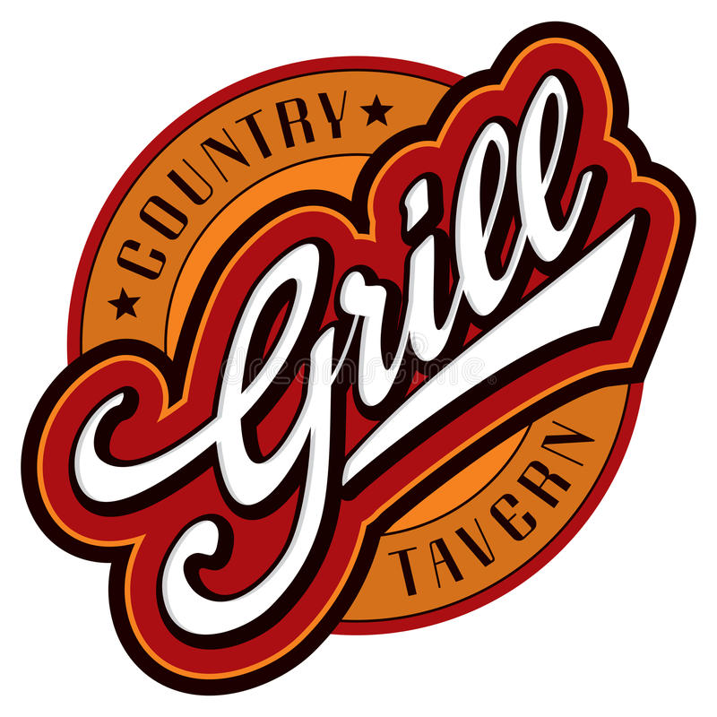 Grill hand lettering design (vector) royalty free stock photography