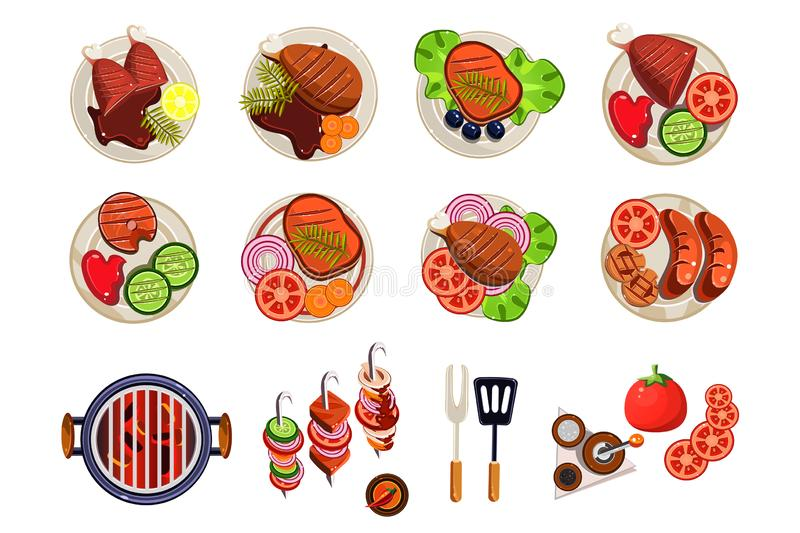 Grill with hot coals, kitchen utensils for cooking and various grilled dishes. Sausages, chicken, steak, fish with royalty free illustration