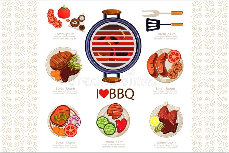 Grill with hot coals, kitchen utensils for cooking and various grilled dishes. Sausages, chicken, steak, fish with stock illustration
