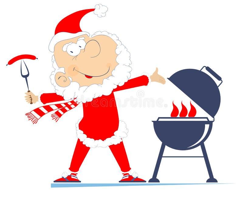 Grill i Święty Mikołaj ilustracja ilustracji