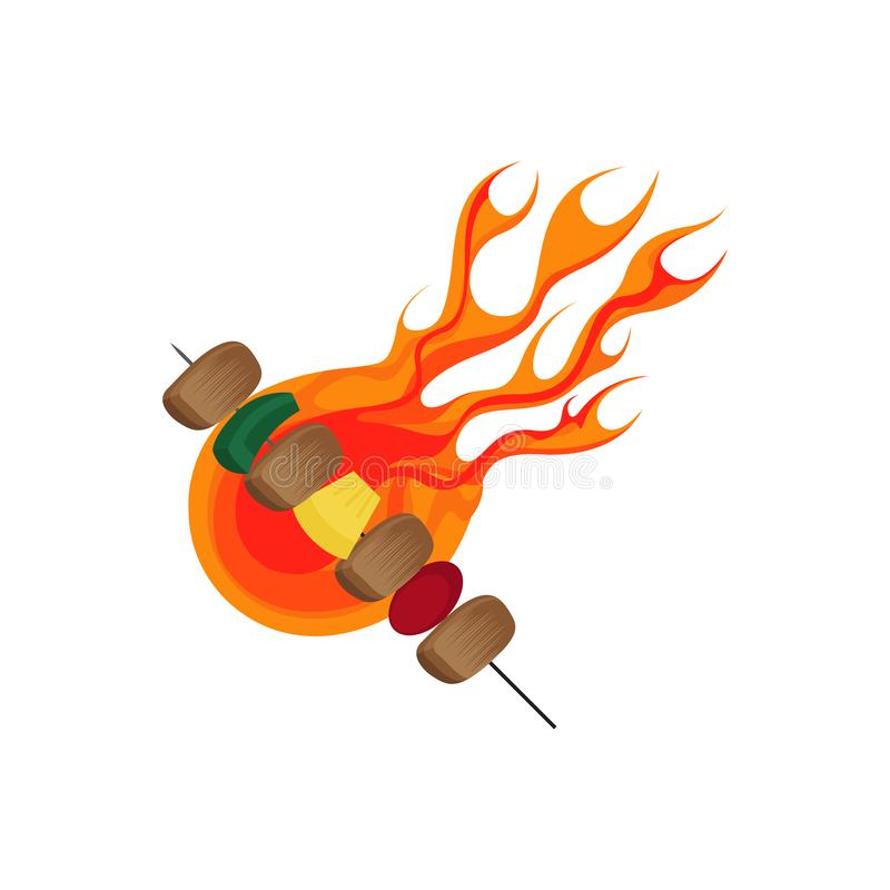 Grill i BBQ grill z płomieniem royalty ilustracja