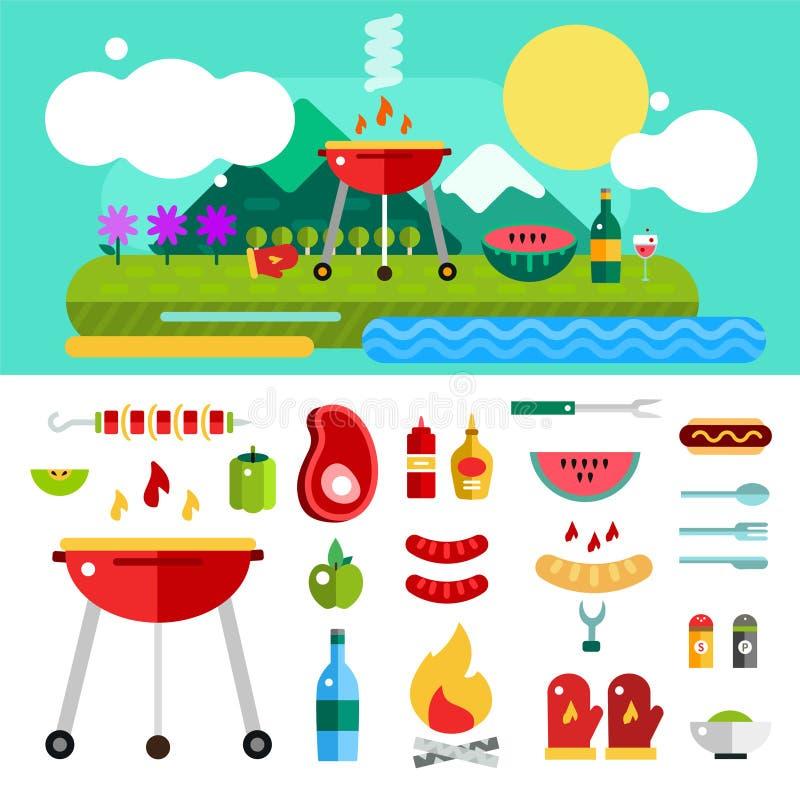 Grill i jedzenie Plenerowi Wektorów przedmioty ustawiający royalty ilustracja
