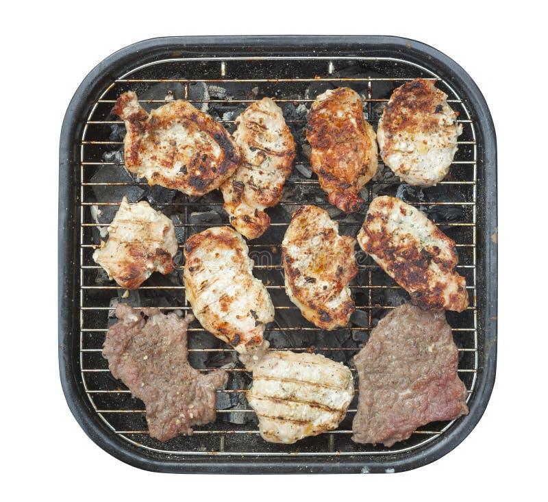 Grill i mięso odizolowywający zdjęcie stock