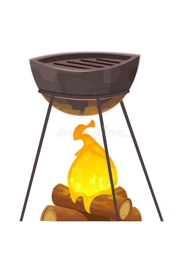 Grill i grill odizolowywający na białym tle ilustracji