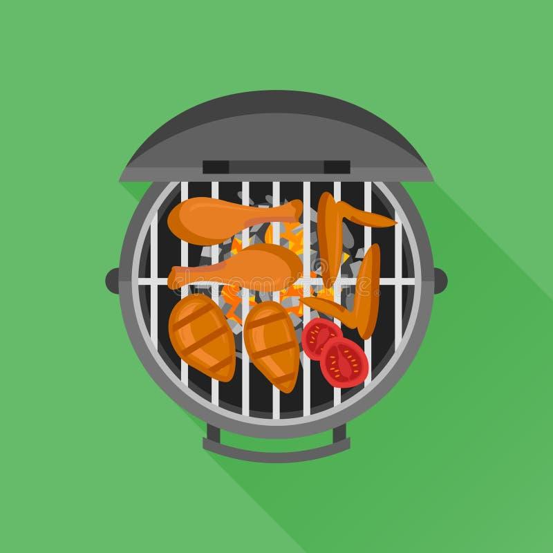 Grill i piec na grillu kurczak Mieszkanie stylowa wektorowa ilustracja ilustracja wektor