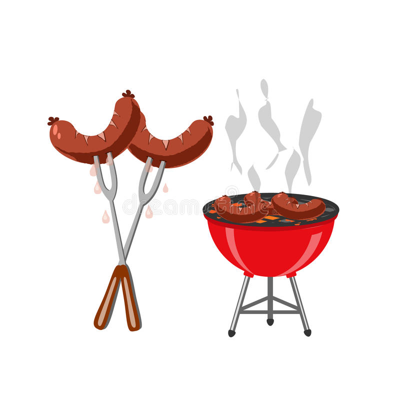 Grill i piec na grillu naczynia, kiełbasy, hot dog Przekąska piwo przy festiwalem ilustracja ilustracja wektor