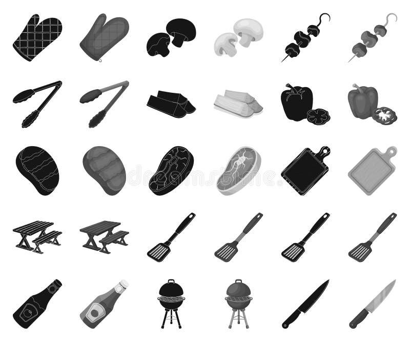Grill i wyposażenie czernimy, monochromatyczne ikony w ustalonej kolekcji dla projekta Pykniczny i smażący karmowy wektorowy symb ilustracja wektor