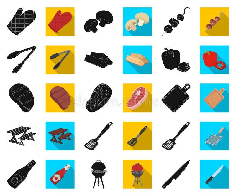 Grill i wyposażenie czernimy, płaskie ikony w ustalonej kolekcji dla projekta Pykniczna i smażąca karmowa wektorowa symbolu zapas royalty ilustracja