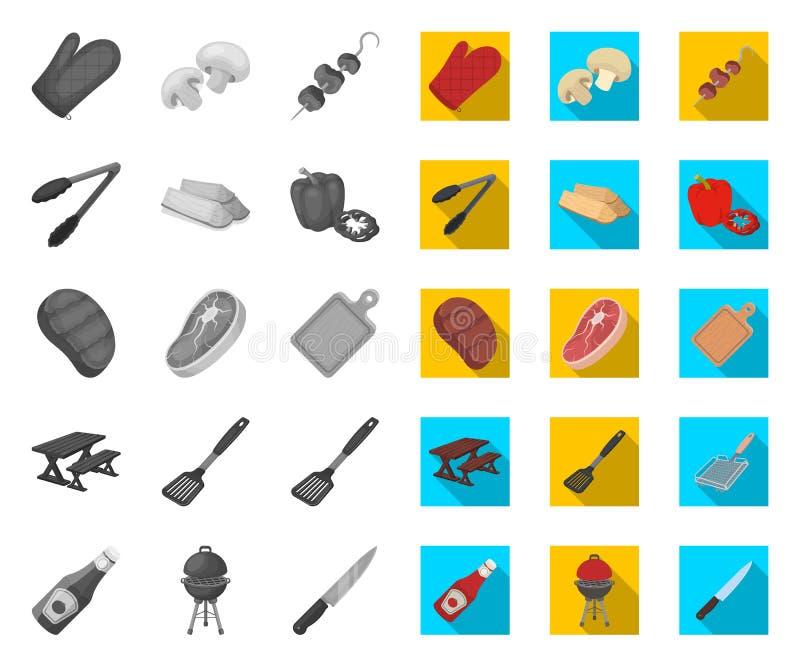 Grill i wyposażenie mono, płaskie ikony w ustalonej kolekcji dla projekta Pykniczna i sma??ca karmowa wektorowa symbolu zapasu si royalty ilustracja