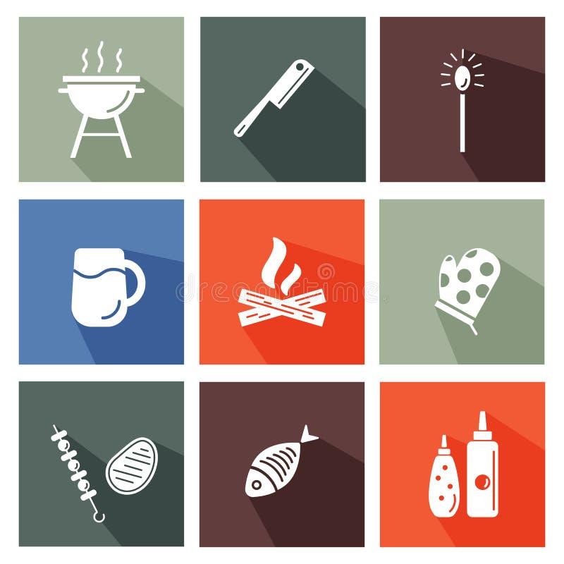 Grill i grill wytłaczamy wzory set ilustracja wektor