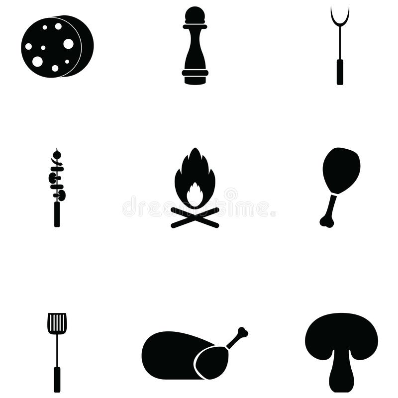 Grill icon set. The grill of icon set royalty free illustration