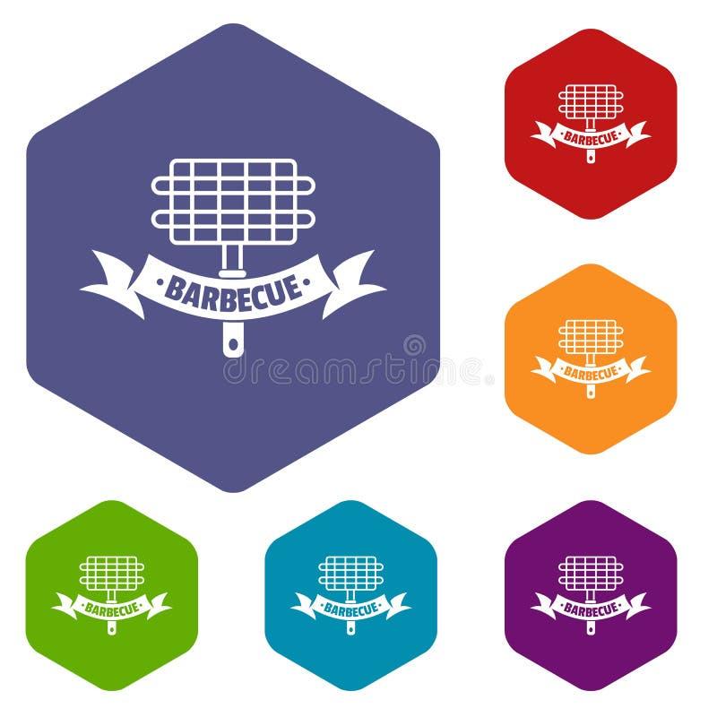 Grill ikon wektoru pykniczny sześciobok ilustracja wektor