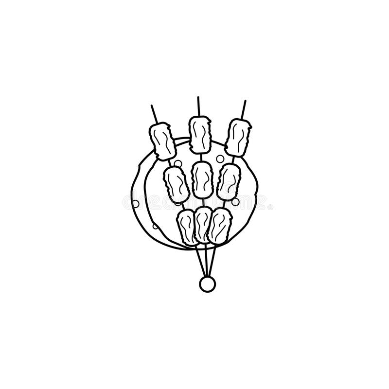 Grill ikona Element Arabska kultury ikona dla mobilnych pojęcia i sieci apps Cienka kreskowa ikona dla strona internetowa projekt royalty ilustracja