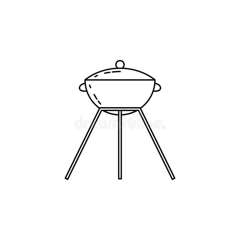 Grill ikona Element camping i plenerowy odtwarzanie dla mobilnych apps pojęcia i sieci Cienka kreskowa ikona dla strony interneto ilustracja wektor