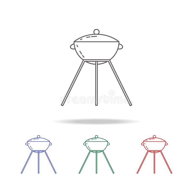 Grill ikona Elementy obozuje wielo- barwione ikony Premii ilości graficznego projekta ikona Prosta ikona dla stron internetowych, ilustracja wektor