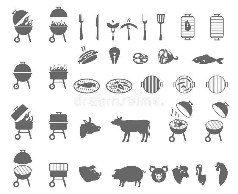Grill ikona Grilla symbol ilustracja wektor