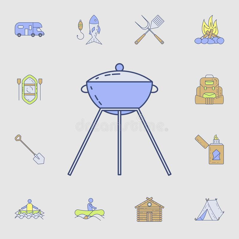 Grill ikona Szczegółowy set koloru campingu narzędzia ikony Premia graficzny projekt Jeden inkasowe ikony dla stron internetowych ilustracji
