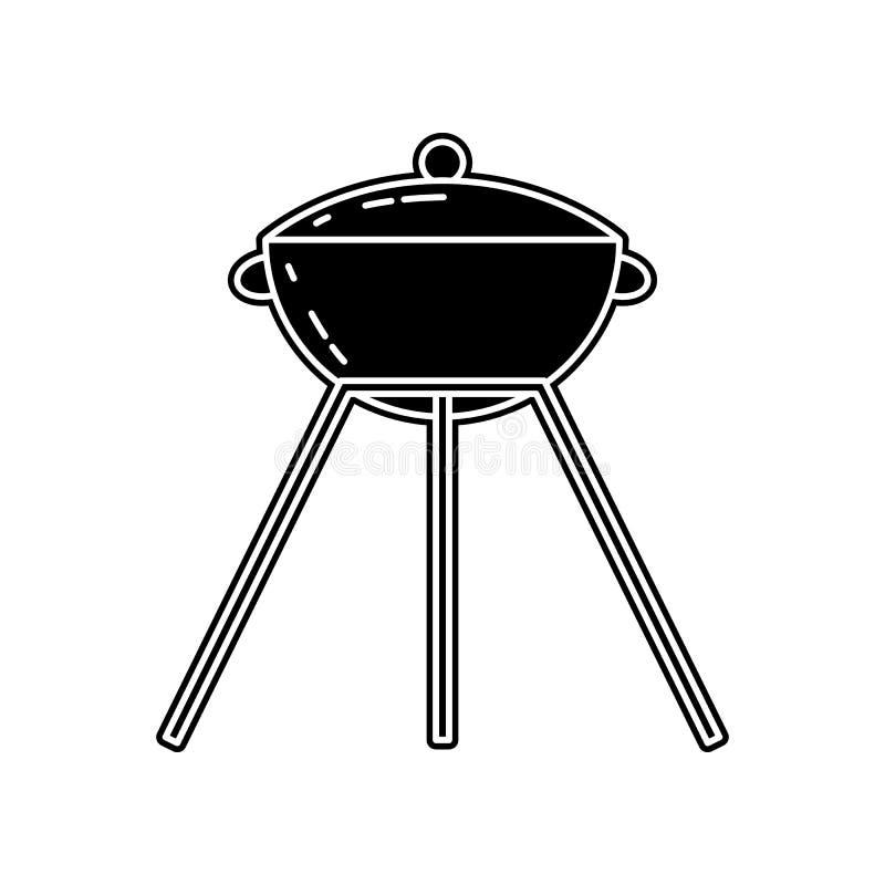 Grill-Ikone E Glyph, flache Ikone f?r Websiteentwurf und Entwicklung, App stock abbildung