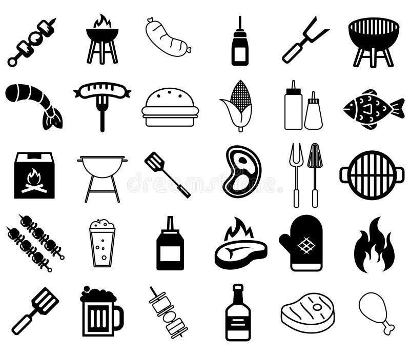 Grill ikony ilustracja wektor