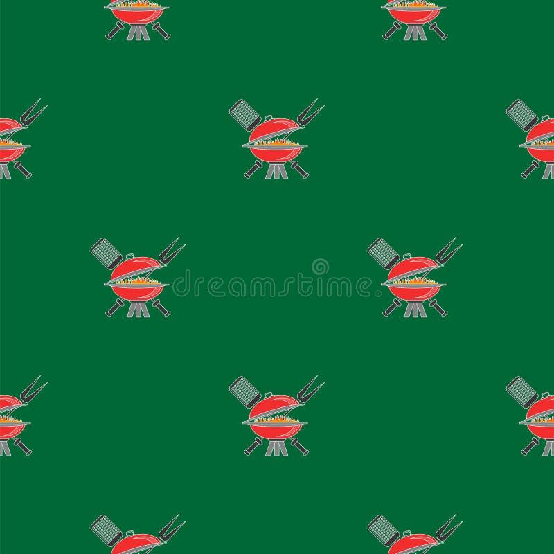 Grill ikony Bezszwowy wzór ilustracja wektor