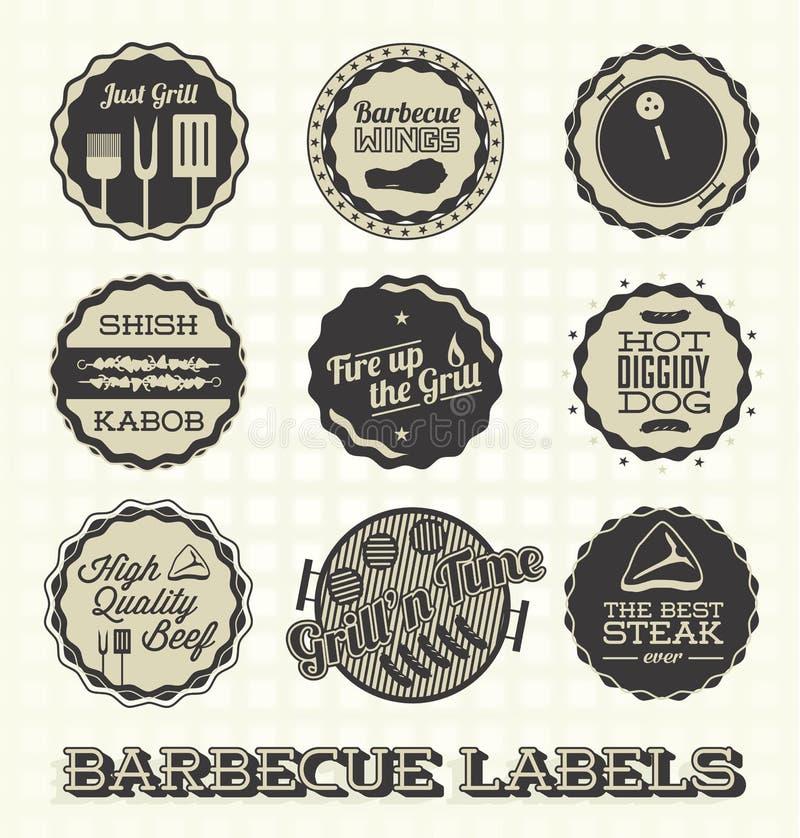 Grill ikony i etykietki ilustracji