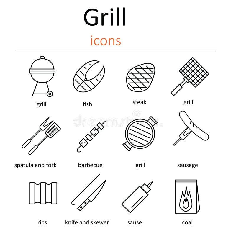 Grill ikony Ikony piec na grillu akcesoria Piekarnika grill, grillów akcesoria i produkty, ilustracja wektor