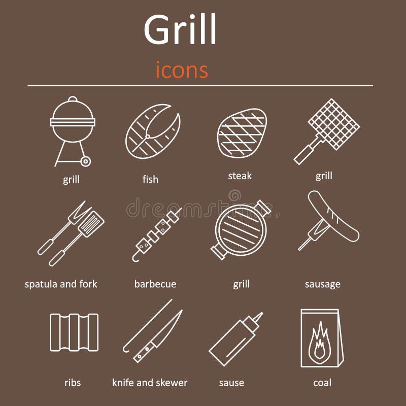 Grill ikony Ikony piec na grillu akcesoria Piekarnika grill, grillów akcesoria i produkty, ilustracji