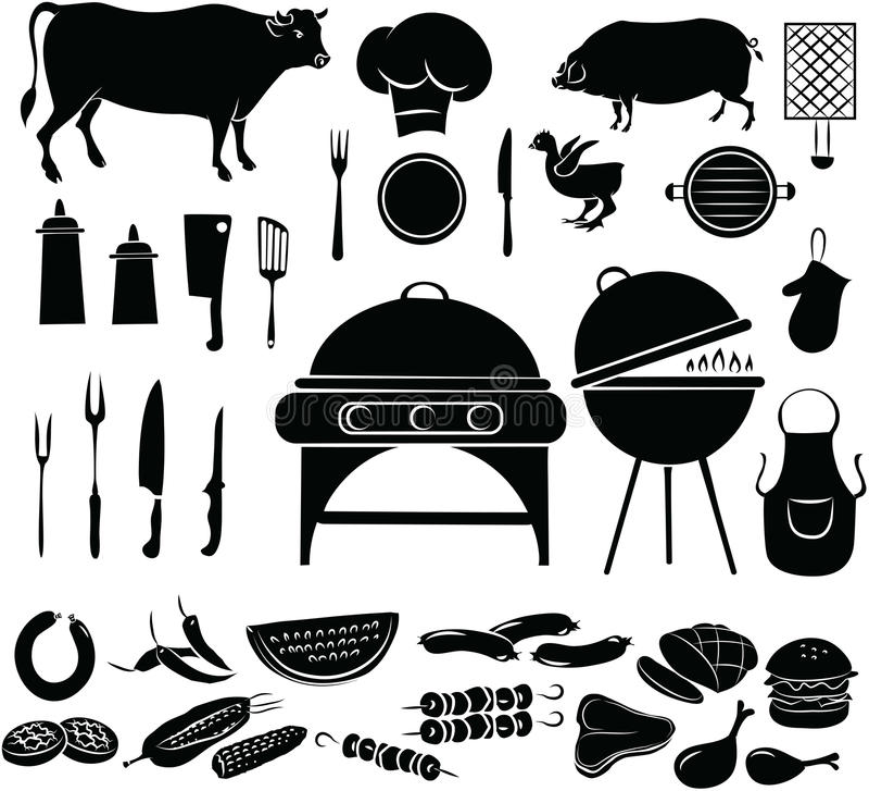 Grill ikony set royalty ilustracja
