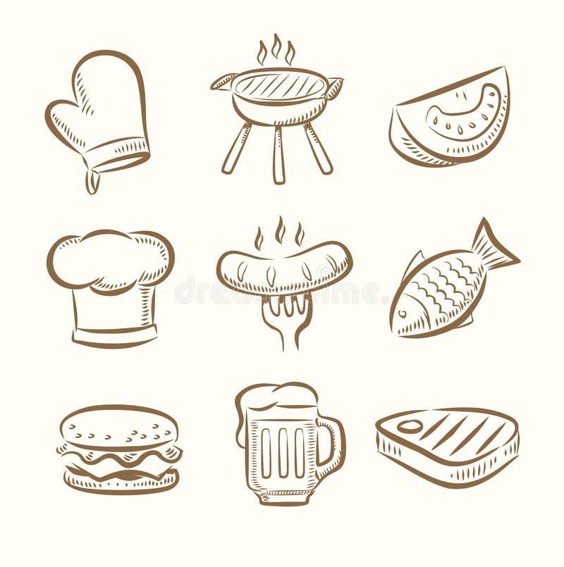 Grill ikony set ilustracja wektor
