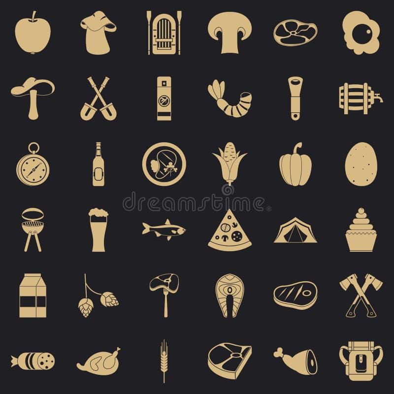Grill ikony ustawiać, prosty styl ilustracji