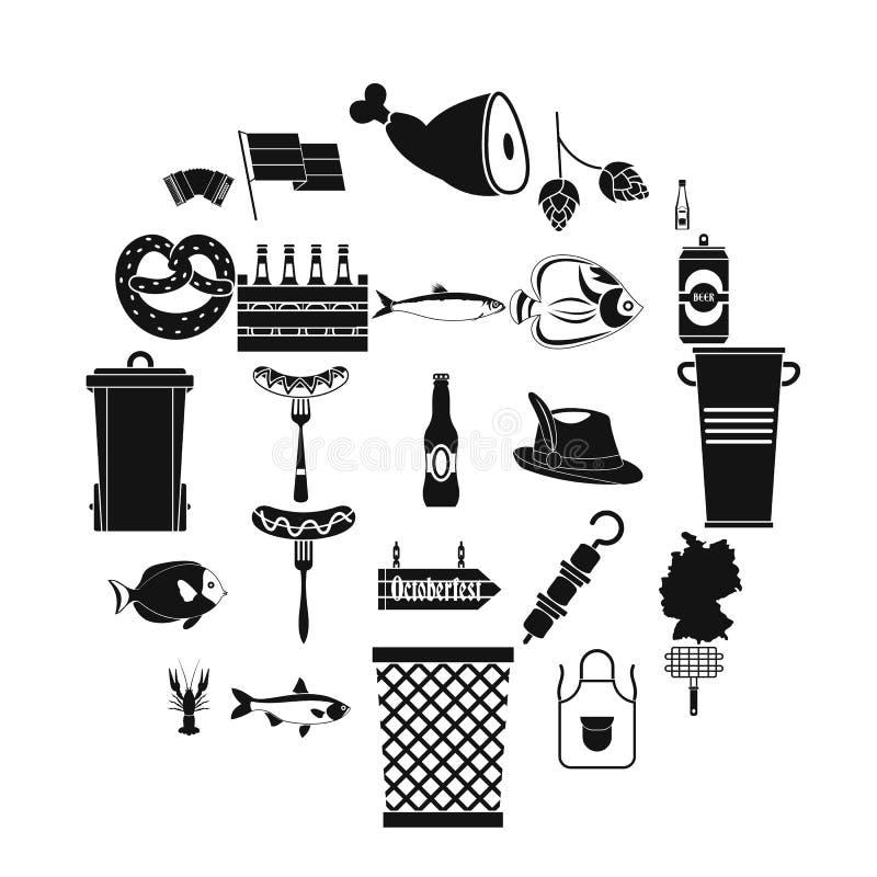 Grill ikony ustawiać, prosty styl royalty ilustracja