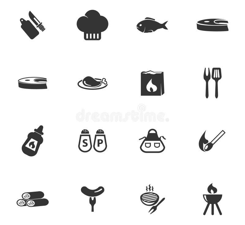 Grill ikony ustawiać ilustracji