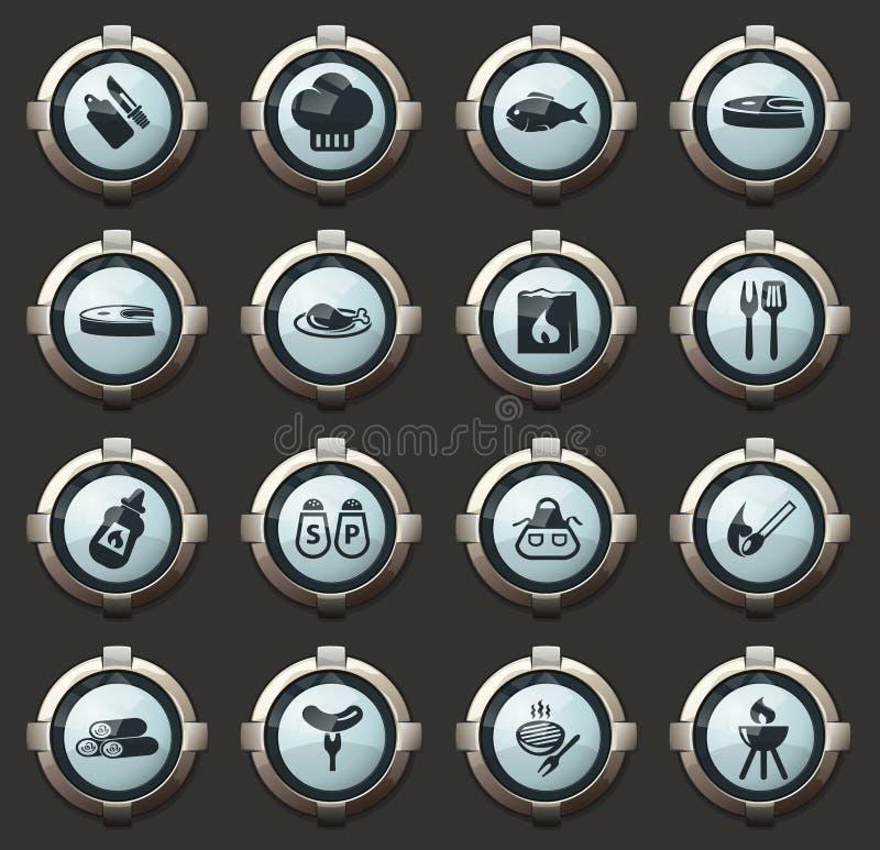 Grill ikony ustawiać ilustracja wektor