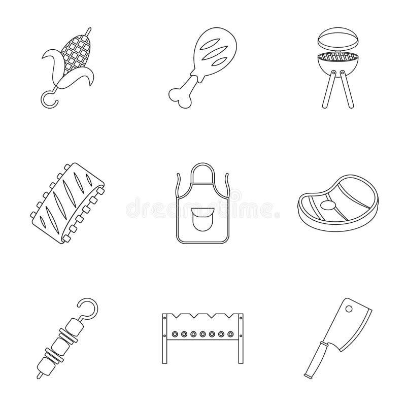 Grill ikony ustawiać, konturu styl ilustracji