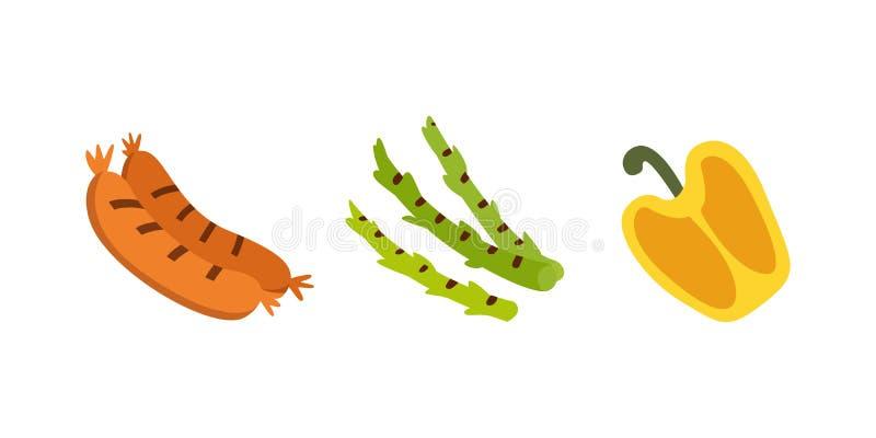 Grill ikony ustawiać Piec na grillu jedzenie, bbq, pieczeń, stek kreskówki wektoru ilustracja royalty ilustracja