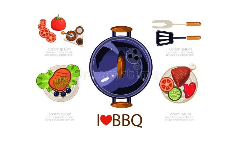 Grill ikony ustawiać, piec na grillu wyposażenie, piec na grillu karmowych menu projekta elementów płaska wektorowa ilustracja ilustracja wektor