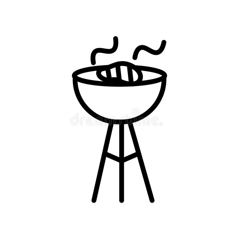 Grill ikony wektor odizolowywający na białym tła, grilla znaka, kreskowego lub liniowego znaku, elementu projekt w konturu stylu ilustracji