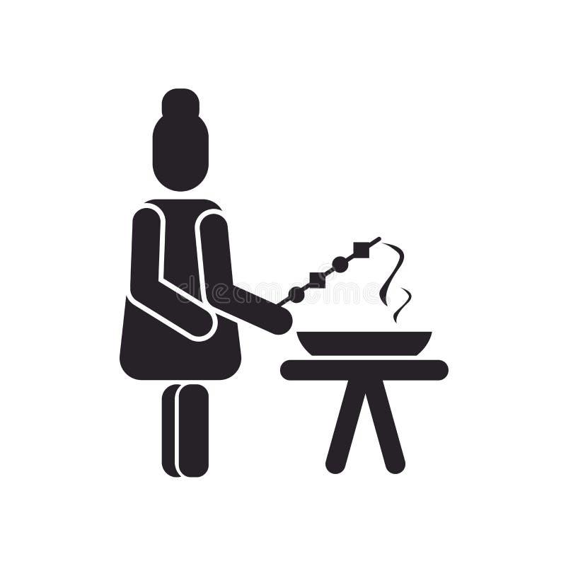 Grill ikony wektoru znak i symbol odizolowywający na białym backgroun ilustracji