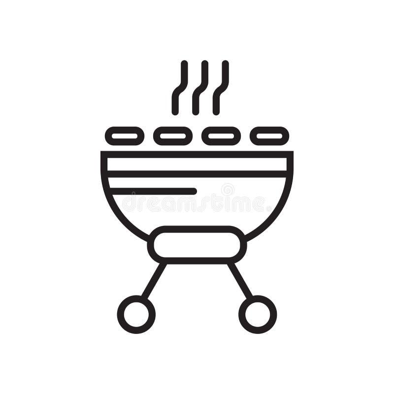 Grill ikony wektoru znak i symbol odizolowywający na białym tle, grilla logo pojęcie ilustracji