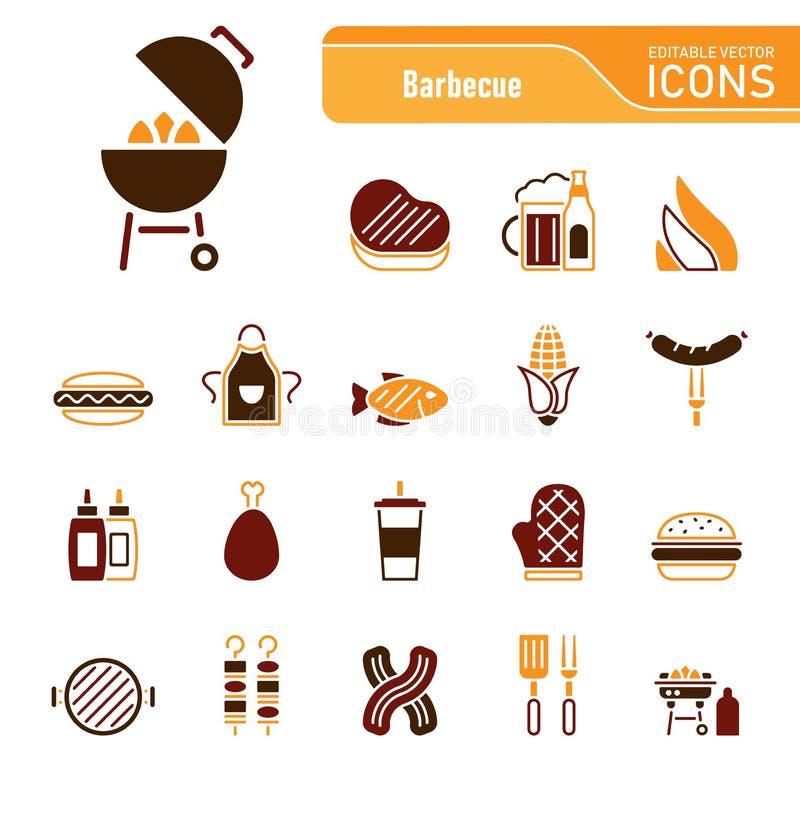 Grill & jedzenie - Iconset ikony ilustracja wektor